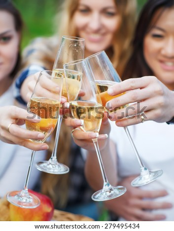 Celebration. People holding glasses of champagne making a toast outdoors. Summer picni - stock photo