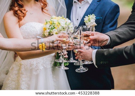 Celebration. People holding glasses of champagne making a toast outdoors. Summer picnic - stock photo