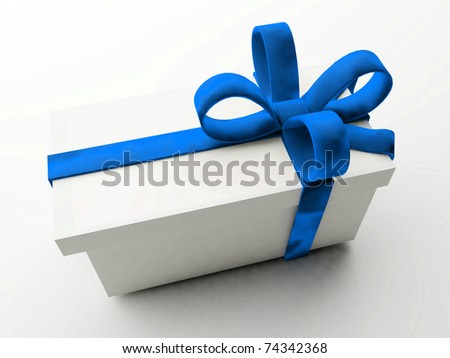 Celebration - Presents with large blue bows - stock photo