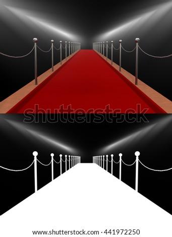 Celebration red carpet. 3D illustration - stock photo