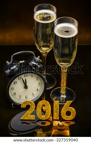 Celebration theme with champagne and clock