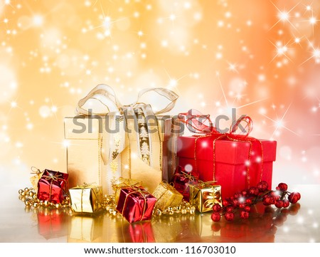 Celebration theme with christmas gifts - stock photo