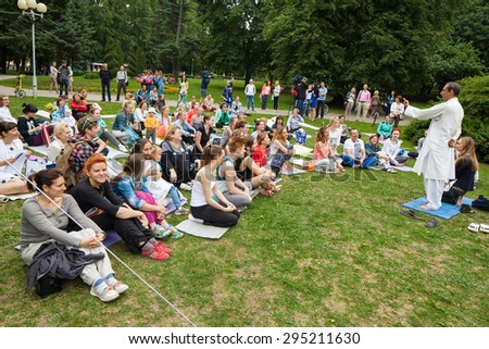 Celebration Yoga Festival in Minsk Gorky Park. Belarus, Minsk, June 21, 2015