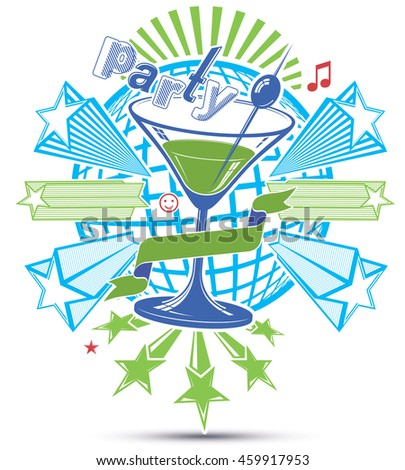 Celebrative leisure backdrop with musical notes and salute - lounge theme poster. Glass martini goblet placed over earth symbol.