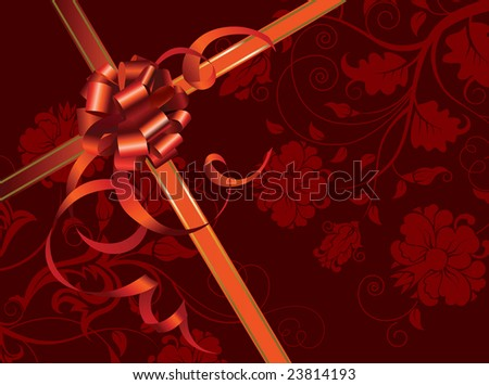 Celebratory card, with red ribbon and flowers with copy space. Illustration.