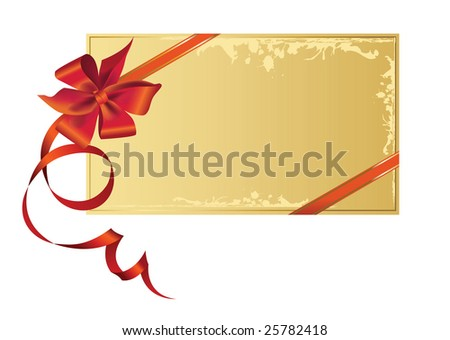 Celebratory card, with red ribbon with copy space. Raster version of vector illustration.