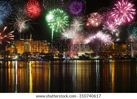 Celebratory fireworks at coast of Eilat (Red sea. Israel)