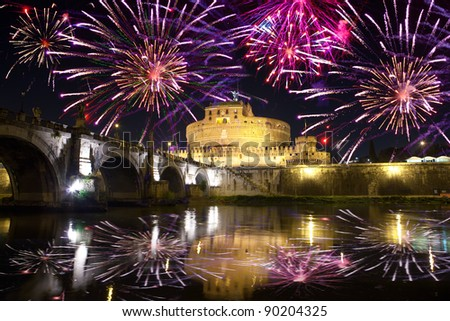Celebratory fireworks over Castel Sant' Angelo. Italy. Rome. - stock photo