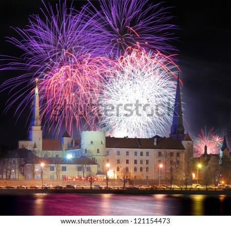 Celebratory New Year's salute in Riga, Latvia.