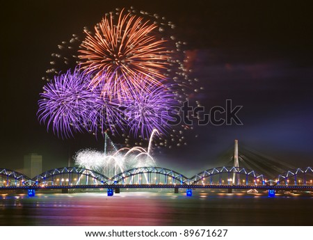 Celebratory salute in Riga on November, 18th, 2011. - stock photo