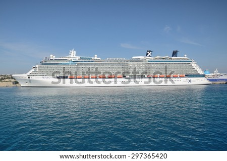 Celebrity Reflection cruise ship of Celebrity Cruises line in the port of Rhodes on June 3, 2015.