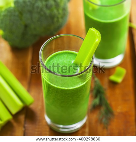 Celery and broccoli mix smoothie, healthy food, vegetable juice