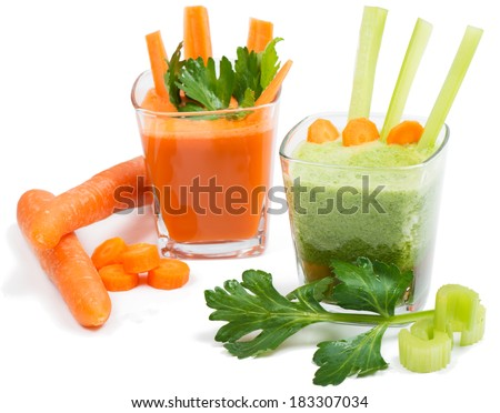 Celery and carrot juice  with leaves and vegetables  isolated on white background
