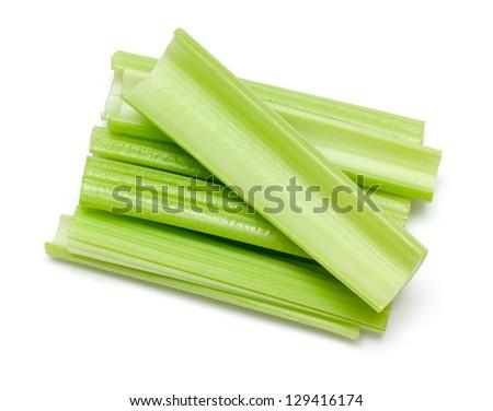 celery sticks isolated on white background - stock photo