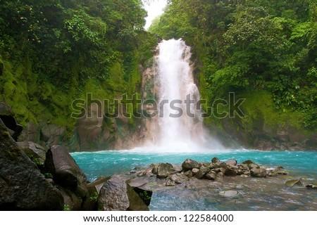celestial water fall, La Fortuna, Costa Rica - stock photo