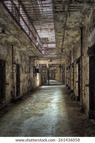 Cell Block at Eastern State Penitentiary in Philadelphia, Pennsylvania - stock photo
