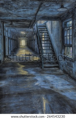 Cell Block with Stairs Leading to the Second Floor in front of a Window  - stock photo