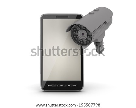 Cell phone and security camera - stock photo