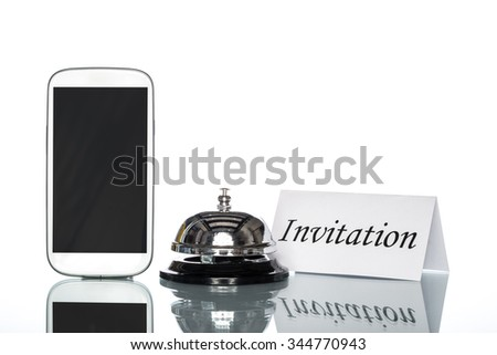cell phone and Service bell on white background, invitation