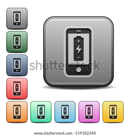 Cell Phone Battery Icon Square Icon Set with Color Variations.  Raster version. - stock photo