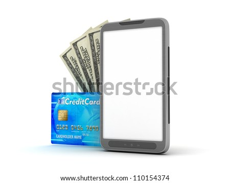 Cell phone, credit card and dollar bills on white background - stock photo