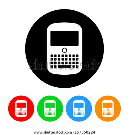 Cell Phone Device Icon with Color Variations.  Raster version. - stock photo