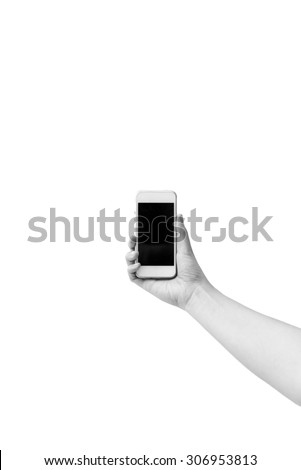 Cell phone in a woman's hand isolated in black and white