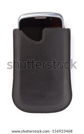 cell phone in leather pouch isolated on a white background