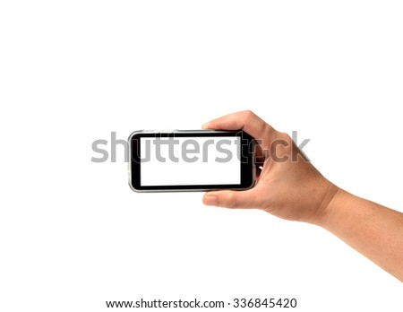 Cell Phone in right hand isolated on white - stock photo