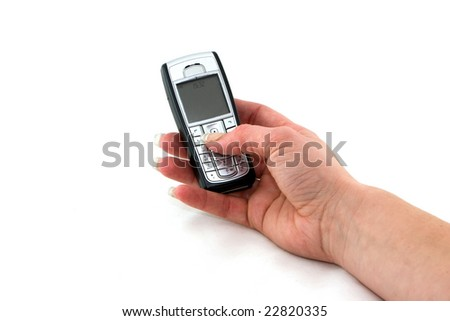 Cell phone in woman hand