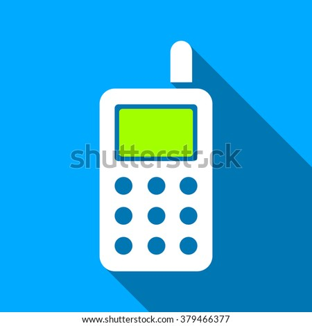 Cell Phone long shadow raster icon. Style is a flat light symbol with rounded angles on a blue square background.