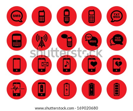 Cell Phone / Mobile Phone Icon Set.  Raster version. - stock photo