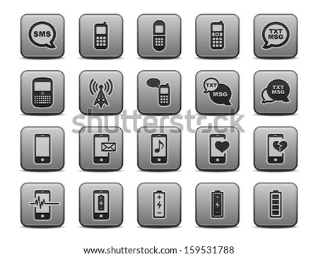 Cell Phone / Mobile Phone Icons Square Icon Set.  Raster version. - stock photo