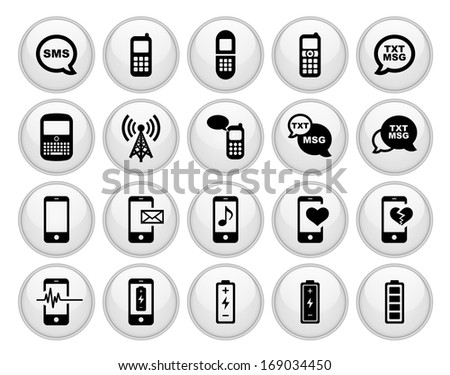 Cell Phone / Mobile Phone Icons White Plastic Button Icon Set.  Raster version. - stock photo