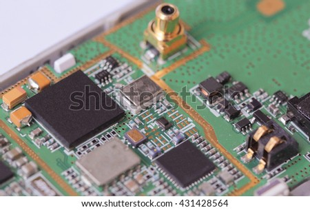 Cell phone mother board - stock photo