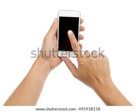 Cell Phone on Hand Isolated