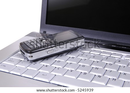 Cell phone on keyboard