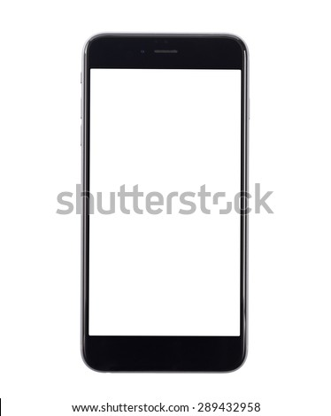 Cell phone on white background, isolated, close-up