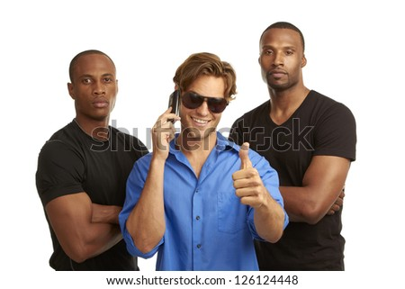 cell phone security concept with bodyguards isolated on white background - stock photo