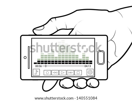 Cell Phone Showing a Music Player - stock photo