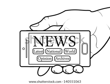 Cell Phone Showing a News Application