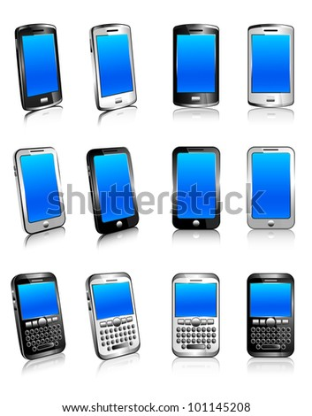Cell Phone Smart Mobile White 3D and 2D - Raster Version - stock photo