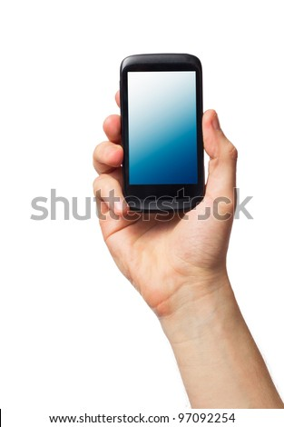 Cell phone (smartphone with touchscreen) in male hand on white - stock photo