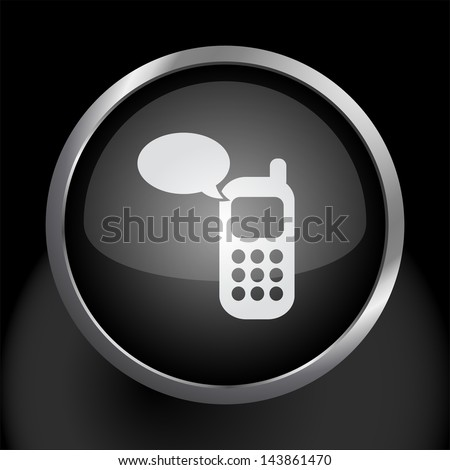 Cell Phone Text Message Icon Symbol - Raster Version, Vector Also Available. - stock photo