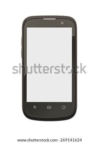 Cell Phone with Copy Space Isolate on White Background.