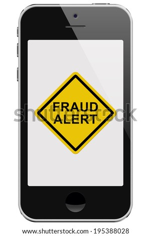 Cell Phone with Fraud Alert Message Warning isolated on a white background