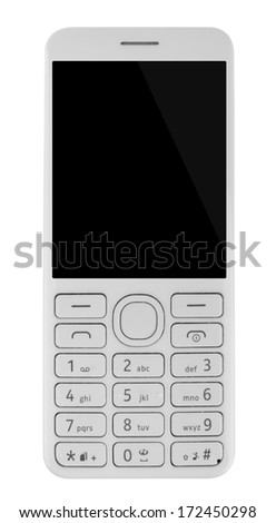 cell phone with keypad isolated on white background with clipping path - stock photo