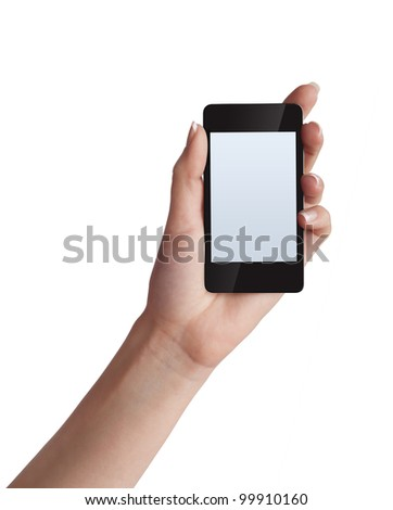 Cell phone with touchscreen in female hand on white background - stock photo