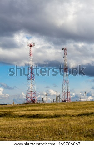 cell towers in the desert the autumn season beautifully
