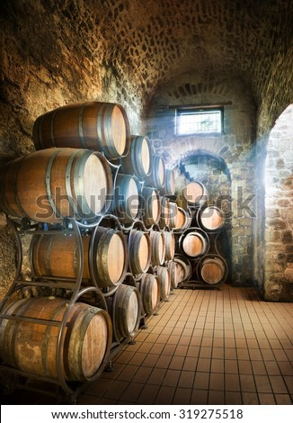 Cellar With Barrels For Storage Of Wine - stock photo